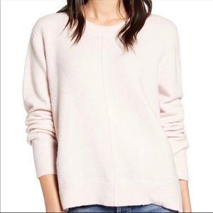 Nordstrom Caslon XL Baby Pink Sweater Pullover Mock Neck Ribbed Soft